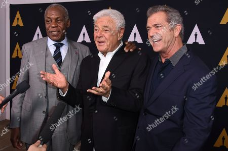 Danny Glover, Richard Donner and Mel Gibson arrive at the Richard Donner Tribute on in Beverly Hills, Calif
