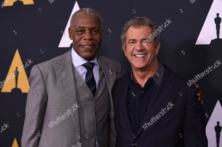 Danny Glover and Mel Gibson arrive at the Richard Donner Tribute on in Beverly Hills, Calif