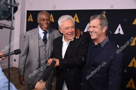 Danny Glover, from left, Richard Donner and Mel Gibson arrive at the Richard Donner Tribute on in Beverly Hills, Calif