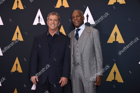 Mel Gibson and Danny Glover arrive at the Richard Donner Tribute on in Beverly Hills, Calif