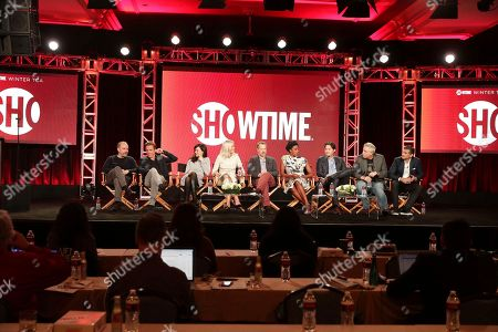 "Paul Giamatti, Damian Lewis, Maggie Siff, Malin Akerman, David Costabile, Condola Rashad, Toby Leonard Moore, Executive Producer Brian Koppelman and Executive Producer David Levien speak at ""Billions"" panel at Showtime 2017 Winter TCA at The Langham Huntington Hotel, in Pasadena, Calif"