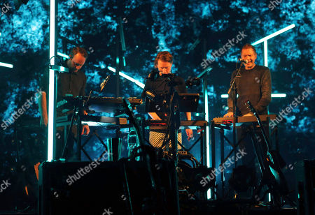 Stock Image of Jonsi Birgisson, Georg Holm and Orri Pall Dyrason with Sigur Ros performs at the Fabulous Fox Theatre, in Atlanta