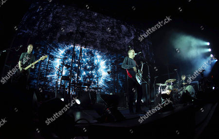 Stock Picture of Jonsi Birgisson, Georg Holm and Orri Pall Dyrason with Sigur Ros performs at the Fabulous Fox Theatre, in Atlanta