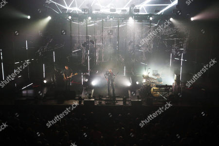 Stock Photo of Jonsi Birgisson, Georg Holm and Orri Pall Dyrason with Sigur Ros performs at the Fabulous Fox Theatre, in Atlanta