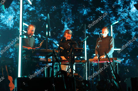 Jonsi Birgisson, Georg Holm and Orri Pall Dyrason with Sigur Ros performs at the Fabulous Fox Theatre, in Atlanta