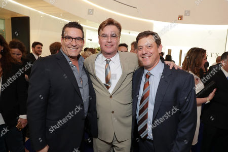 Oren Aviv, President and Chief Content Officer for Motion Picture Group, STX Entertainment, Aaron Sorkin and Adam Fogelson, Chairman of Motion Picture Group, seen at STX Films 2017 CinemaCon Presentation reception, in Las Vegas