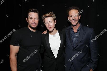 Mark Wahlberg, Sophie Watts, President of STX Entertainment, and Director Peter Berg seen at STX Films 2017 CinemaCon Presentation, in Las Vegas
