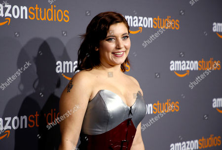 Hannah Dunne arrives at the Amazon Studios Golden Globes afterparty at the Beverly Hilton Hotel, in Beverly Hills, Calif