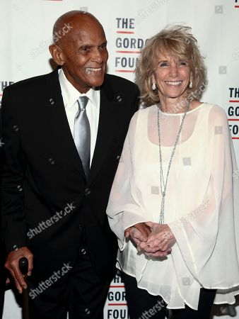 Harry Belafonte, left, and Pamela Frank, right, attend the The Gordon Parks Foundation Annual Awards Dinner and Auction at Cipriani 42nd Street, in New York