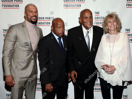 Common, from left, John Lewis, Harry Belafonte and Pamela Frank attend the The Gordon Parks Foundation Annual Awards Dinner and Auction at Cipriani 42nd Street, in New York