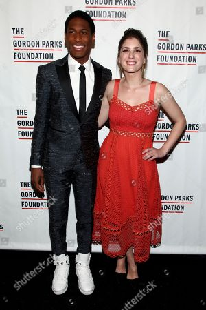 Jon Batiste, left, and Suleika Jaouad, right, attend the The Gordon Parks Foundation Annual Awards Dinner and Auction at Cipriani 42nd Street, in New York