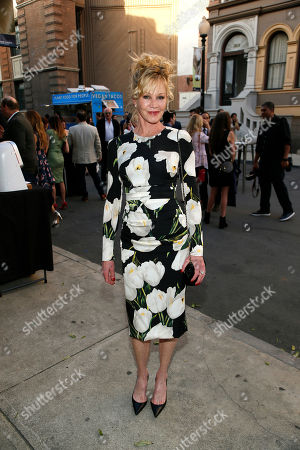 Melanie Griffith attends The Humane Society of the United States' To The Rescue! Los Angeles Benefit at Paramount Studios, in Los Angeles. The event benefits The HSUS' Farm Animal Protection campaign and honors Sen. Cory Booker, D-NJ, and Christina Grimmie (posthumously) with performances by Noah Cyrus, Pharrell and Rachel Platten