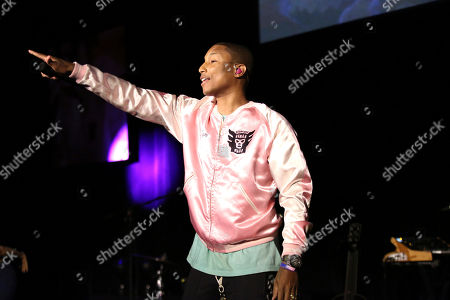 Pharrell Williams performs at The Humane Society of the United States' To The Rescue! Los Angeles Benefit at Paramount Studios, in Los Angeles. The event benefits The HSUS' Farm Animal Protection campaign and honors Sen. Cory Booker, D-NJ, and Christina Grimmie (posthumously) with performances by Noah Cyrus, Pharrell and Rachel Platten