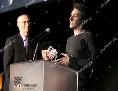 """Mark Grimmie accepts the """"Impact Award"""" on behalf of his late sister Christina Grimmie at The Humane Society of the United States' To The Rescue! Los Angeles Benefit at Paramount Studios, in Los Angeles. The event benefits The HSUS' Farm Animal Protection campaign and honors Sen. Cory Booker, D-NJ, and Christina Grimmie (posthumously) with performances by Noah Cyrus, Pharrell and Rachel Platten"""