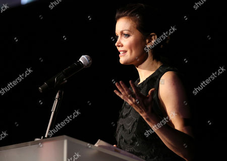 Bellamy Young speaks at The Humane Society of the United States' To The Rescue! Los Angeles Benefit at Paramount Studios, in Los Angeles. The event benefits The HSUS' Farm Animal Protection campaign and honors Sen. Cory Booker, D-NJ, and Christina Grimmie (posthumously) with performances by Noah Cyrus, Pharrell and Rachel Platten