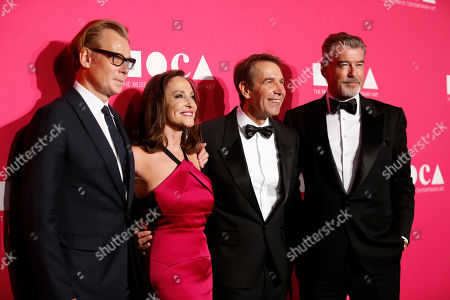 From left to right, MOCA Director Philippe Vergne, MOCA Gala chair Lilly Tartikoff, honoree Jeff Koons and actor Pierce Brosnan pose at The Museum Of Contemporary Art 2017 Annual Gala at The Geffen Contemporary at MOCA, in Los Angeles, Calif