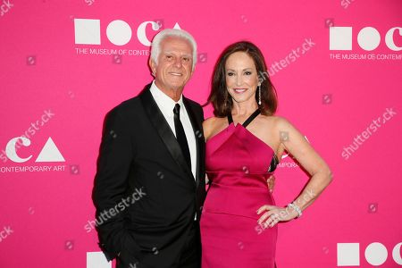 MOCA Gala chairs Maurice Marciano and Lilly Tartikoff Karatz pose at The Museum Of Contemporary Art 2017 Annual Gala at The Geffen Contemporary at MOCA, in Los Angeles, Calif