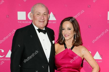 Stock Picture of Bruce Karatz, left and MOCA Gala chair Lilly Tartikoff pose at The Museum Of Contemporary Art 2017 Annual Gala at The Geffen Contemporary at MOCA, in Los Angeles, Calif