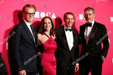 MOCA Director Philippe Vergne, from left, MOCA Gala Chair Lilly Tartikoff, honoree Jeff Koons and actor Pierce Brosnan pose at The MuseumoOf Contemporary Art 2017 Annual Gala at The Geffen Contemporary at MOCA, in Los Angeles