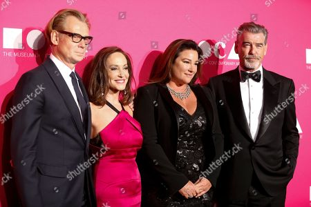 MOCA Director Philippe Vergne, activist Lilly Tartikoff Karatz, journalist Keely Shaye Smith, and actor Pierce Brosnan pose at The Museum Of Contemporary Art 2017 Annual Gala at The Geffen Contemporary at MOCA, in Los Angeles, Calif