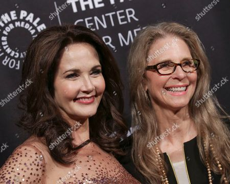 Actresses Lynda Carter, left, and Lindsay Wagner attend The Paley Honors: Celebrating Women in Television at Cipriani Wall Street, in New York