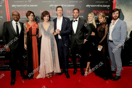 """Fraser James, Ruby Rose, Milla Jovovich, Director/Writer/Producer Paul W. S. Anderson, William Levy, Ali Larter, Rola and Eoin Macken seen at The World Premiere of Screen Gems' """"Resident Evil: The Final Chapter"""" at Regal LA Live, in Los Angeles"""