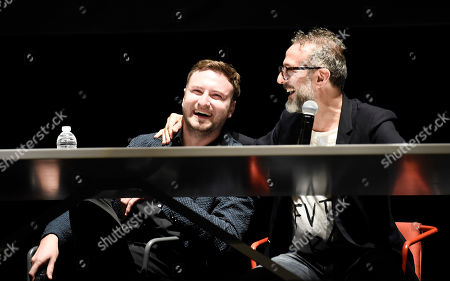 Director David Gelb, left, and chef Massimo Bottura at the Los Angeles Times Food Bowl Chef's Fable at The Wiltern, in Los Angeles