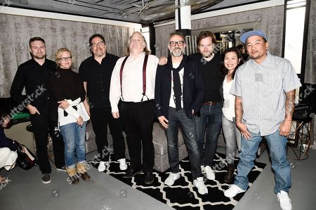 From left to right, director David Gelb, Los Angeles Times Food Editor Amy Scattergood, director Jon Favreau, Los Angeles Times Food Critic Jonathan Gold, chef Massimo Bottura, chef Magnus Nilsson, chef Niki Nakayama, and chef Roy Choi at the Los Angeles Times Food Bowl Chef's Fable at The Wiltern, in Los Angeles