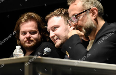 From left to right, chef Magnus Nilsson, director David Gelb, and chef Massimo Bottura at the Los Angeles Times Food Bowl Chef's Fable at The Wiltern, in Los Angeles