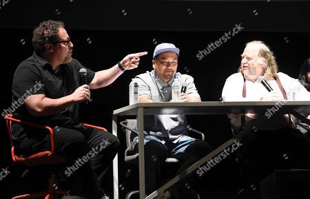 From left to right, director Jon Favreau, chef Roy Choi, and Los Angeles Times Food Critic Jonathan Gold at the Los Angeles Times Food Bowl Chef's Fable at The Wiltern, in Los Angeles