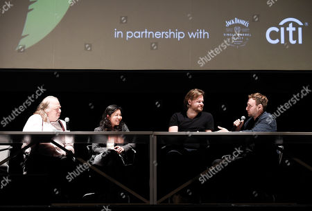 Los Angeles Times Food Critic Jonathan Gold, chef Niki Nakayama, chef Magnus Nilsson, and director David Gelb at the Los Angeles Times Food Bowl Chef's Fable at The Wiltern, in Los Angeles