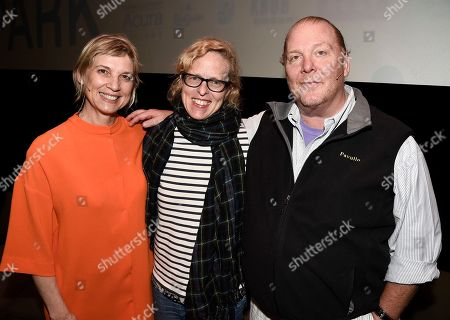 From left to right, chef Mary Sue Milliken, Los Angeles Times Food Editor Amy Scattergood, and chef Mario Batali at the Los Angeles Times Food Bowl Food for Soul at the Ace Hotel Downtown, in Los Angeles