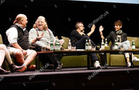 From left to right, Chef Mario Batali, Los Angeles Times food critic Jonathan Gold, chef Massimo Bottura, and chef Dominque Crenn at the Los Angeles Times Food Bowl Food for Soul at the Ace Hotel Downtown, in Los Angeles