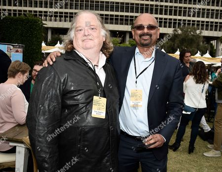 Los Angeles Times Food Critic Jonathan Gold, left, and Los Angeles Times Editor-in-Chief and Publisher Davan Maharaj at the Los Angeles Times Food Bowl Night Market at Grand Park LA, in Los Angeles