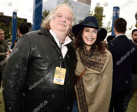 Los Angeles Times Food Critic Jonathan Gold, left, and actress Teri Hatcher at the Los Angeles Times Food Bowl Night Market at Grand Park LA, in Los Angeles