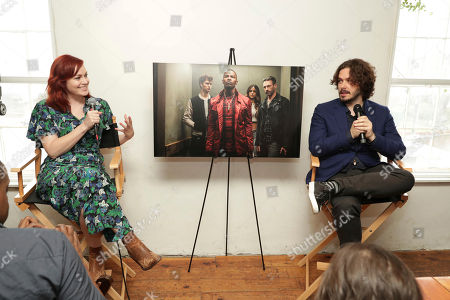 """Moderator Alicia Malone and Director/Writer Edgar Wright seen at TriStar Pictures """"Baby Driver"""" BBQ and Q&A with Director Edgar Wright at 2017 SXSW held at Freedmen's, in Austin, TX"""