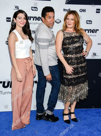 """People of Earth"""" cast members Nasim Pedrad,from left, Oscar Nunez and Ana Gasteyer attend the Turner Network 2017 Upfront presentation at The Theater at Madison Square Garden, in New York"""