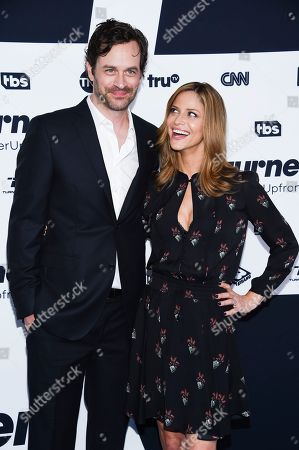 Actors Tom Everett Scott, left, and Andrea Savage attend the Turner Network 2017 Upfront presentation at The Theater at Madison Square Garden, in New York