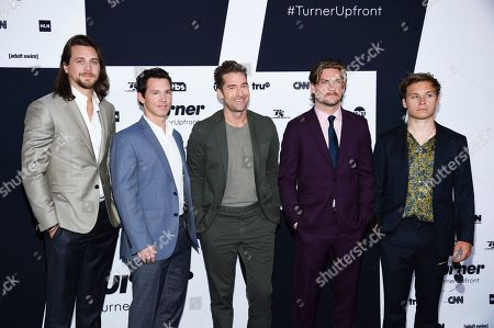 """Animal Kingdom"""" cast members, from left, Ben Robson, Shawn Hatosy, Scott Speedman, Jake Weary and Finn Cole attend the Turner Network 2017 Upfront presentation at The Theater at Madison Square Garden, in New York"""