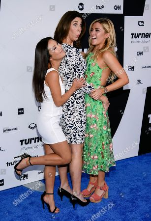"""Wrecked"""" cast members Ally Maki, from left, Brooke Dillman and Jessica Lowe attend the Turner Network 2017 Upfront presentation at The Theater at Madison Square Garden, in New York"""