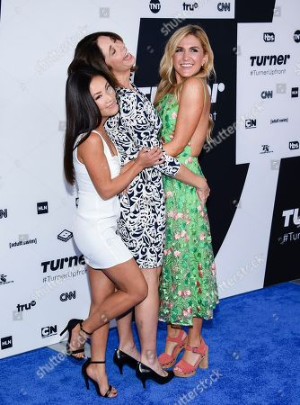 """Wrecked"""" cast members Ally Maki, left, Brooke Dillman and Jessica Lowe attend the Turner Network 2017 Upfront presentation at The Theater at Madison Square Garden, in New York"""