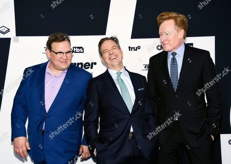 Andy Richter, from left, Jake Tapper and Conan O'Brien attend the Turner Network 2017 Upfront presentation at The Theater at Madison Square Garden, in New York