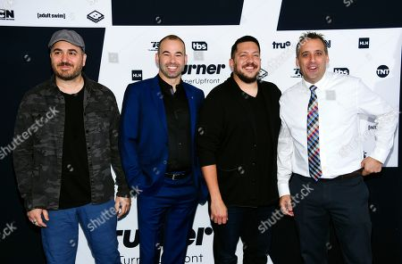 """Impractical Jokers"""" cast members Brian Quinn, from left, James Murray, Sal Vulcano and Joe Gatto attend the Turner Network 2017 Upfront presentation at The Theater at Madison Square Garden, in New York"""