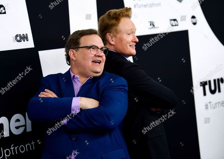 Andy Richter, left, and Conan O'Brien attend the Turner Network 2017 Upfront presentation at The Theater at Madison Square Garden, in New York