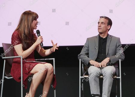 Moderator Jessica Radloff and Exec. Producer Eric Zicklin seen at TV Land 'Younger' FYC Panel at the Wolf Theater at Saban Media Center, in Los Angeles, CA