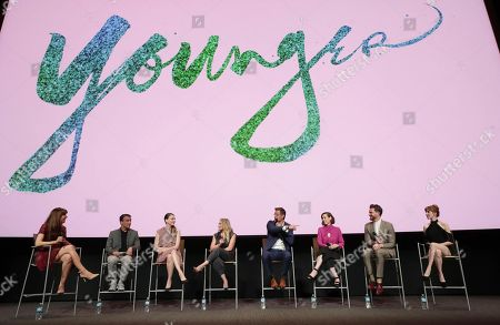 Moderator Jessica Radloff, Exec. Producer Eric Zicklin, Sutton Foster, Hilary Duff, Peter Hermann, Miriam Shor, Nico Tortorella and Molly Bernard seen at TV Land 'Younger' FYC Panel at the Wolf Theater at Saban Media Center, in Los Angeles, CA