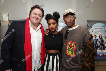 "Composer Ben Wallfisch, Janelle Monae and Producer/Composer Pharrell Williams seen at Twentieth Century Fox ""Hidden Figures"" Special Screening at the London West Hollywood on January, 04, 2017, in Los Angeles, CA"