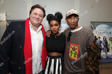 "Stock Photo of Composer Ben Wallfisch, Janelle Monae and Producer/Composer Pharrell Williams seen at Twentieth Century Fox ""Hidden Figures"" Special Screening at the London West Hollywood on January, 04, 2017, in Los Angeles, CA"