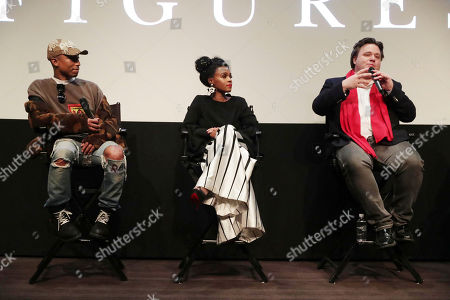 "Stock Image of Producer/Composer Pharrell Williams, Janelle Monae and Composer Ben Wallfisch seen at Twentieth Century Fox ""Hidden Figures"" Special Screening at the London West Hollywood on January, 04, 2017, in Los Angeles, CA"
