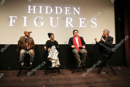 "Producer/Composer Pharrell Williams, Janelle Monae, Composer Ben Wallfisch and Scott Mantz seen at Twentieth Century Fox ""Hidden Figures"" Special Screening at the London West Hollywood on January, 04, 2017, in Los Angeles, CA"